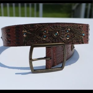 Fossil fancy detailed belt genuine leather